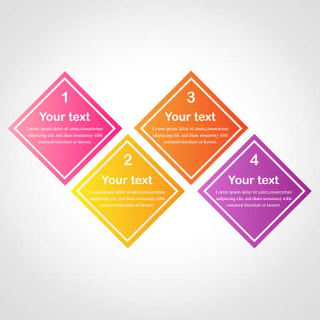yellow orange: Business info graphics tabs template. Can used for web design, banners, brochures, presentation. Pink, yellow, orange, violet colors. Vector illustration.