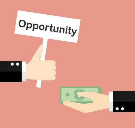 opportunity concept: Giving opportunity business concept. Vector illustration.