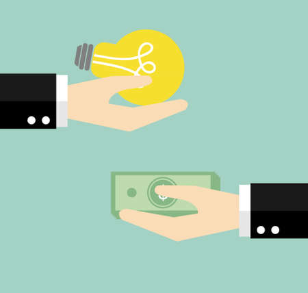 cash cycle: Give idea and money for exchange. Vector illustration. Illustration