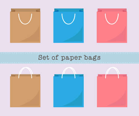 empty box: Set of paper bags, brown, blue, pink paper bags. Vector illustration. Illustration