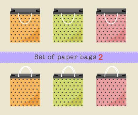 paper bags: Set of paper bags 2, orange, green, pink polka dots paper bags. Vector illustration.