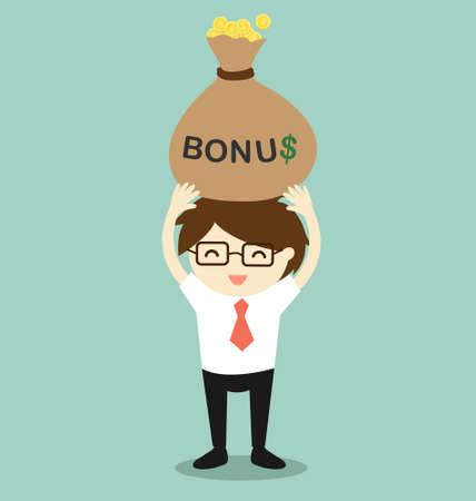 Business concept, Businessman holding bonus and feeling happy. Vector illustration.