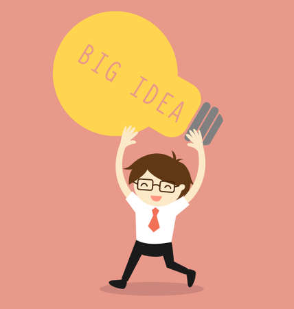 Business concept, Businessman holding bulb light with the word big idea. illustration.