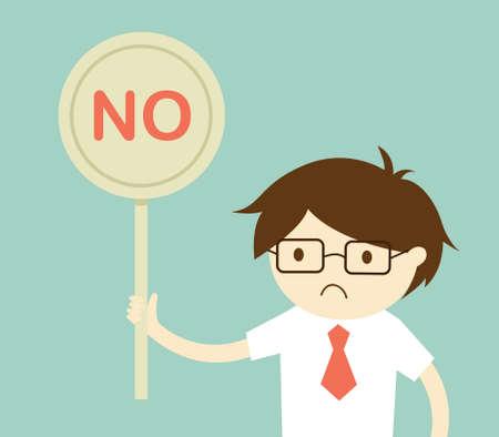 ignore: Business concept, Businessman holding NO sign. illustration and flat design. Illustration