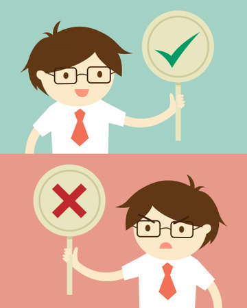 confirmed: Business concept, Businessman holding true and false sign. illustration and flat design. Illustration