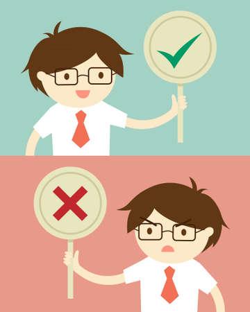 Business concept, Businessman holding true and false sign. illustration and flat design. Illustration