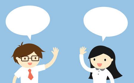 Business concept, Homme d'affaires parlant avec femme d'affaires. illustration. Banque d'images - 50077455