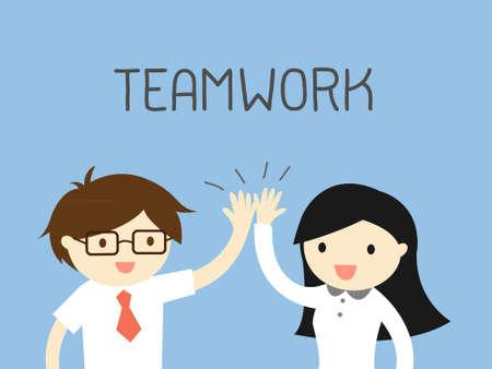 Business-Konzept, Geschäftsmann und Geschäftsfrau, die zusammen arbeiten. Illustration.