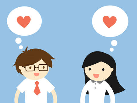 Business concept, Love in office. Businessman and business woman feeling love each other. illustration.