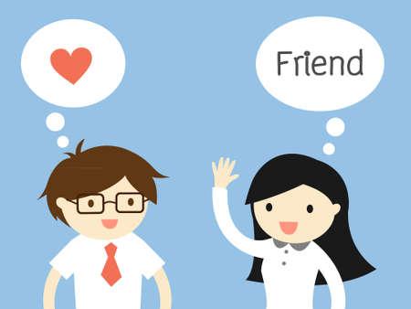 Concept d'affaires, L'amour au bureau. Businessman sentiment amour femme d'affaires mais elle pense qu'il est juste un ami. illustration. Banque d'images - 50077459
