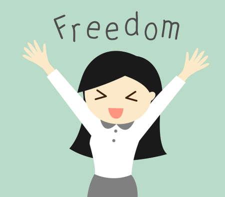 Business concept, Cartoon business woman feeling happy with her freedom. illustration. Illusztráció