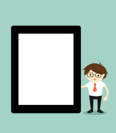 tabletpc: Business concept, Businessman holding tablet with blank screen. illustration. Illustration