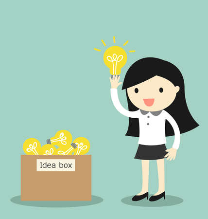 Business concept, Business woman pick some idea from idea box. illustration. Vettoriali