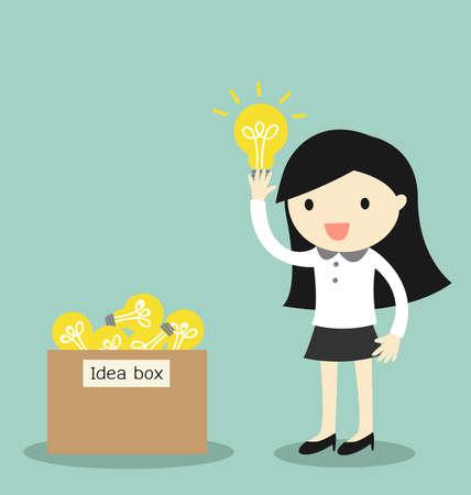 Koncepcja biznesowa, Business woman wybrać jakiś pomysł z pudełka pomysł. ilustracja.
