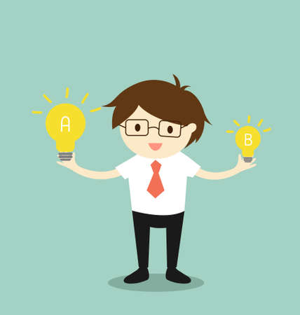 bright ideas: Business concept, Businessman compares idea A to idea B. illustration.