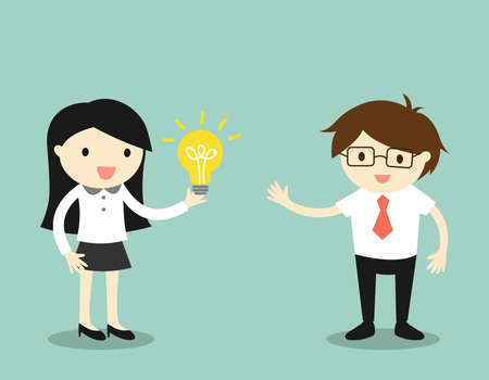 Business concept, Business woman give her idea to businessman.  illustration.