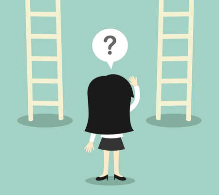 confused cartoon: Business concept, Business woman confused about two ladder. illustration.