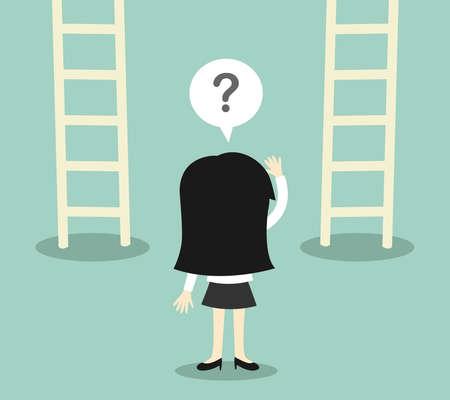 concetto di business, Business donna confusa circa due scala. illustrazione.