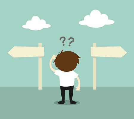 Concetto di affari, uomo d'affari confuso circa due direzioni. illustrazione.