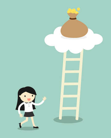 heaven: Business concept, Business woman going to climb the ladder for get a bag of money. illustration.