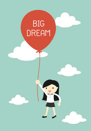 worker cartoon: Business concept, Business woman flying with big balloon. illustration.
