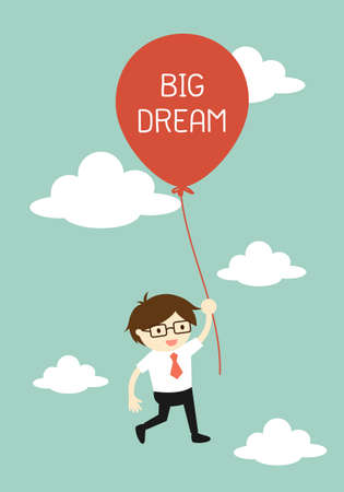 business flying: Business concept, Businessman flying with big balloon. illustration.