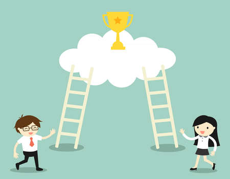 stairway to heaven: Business concept, Businessman and business woman going to climb the ladders for get a golden winner cup. illustration.