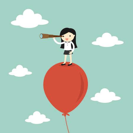 concepto de negocio, mujer de negocios usando su telescopio en busca de algo en el cielo. ilustración.