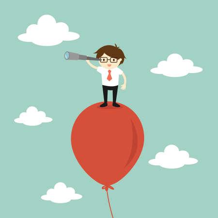 Business-Konzept, Geschäftsmann mit seinem Teleskop der Suche nach etwas in den Himmel. Illustration.