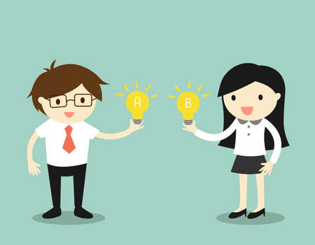 Business concept, Businessman and business woman sharing idea. illustration.
