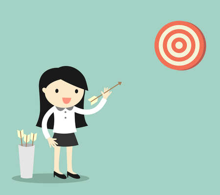 target shooting: Business concept, Business woman shooting the target. illustration.