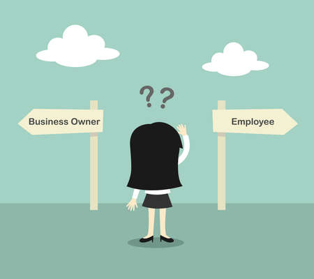 right path: Business concept, Business woman confused about two direction, between business owner and employee. illustration. Illustration