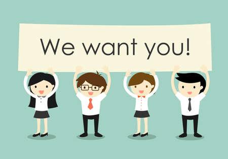 Business concept, Ondernemers en zakelijke vrouwen die 'Wij willen dat u!' uithangbord met groene achtergrond. Vector illustratie.