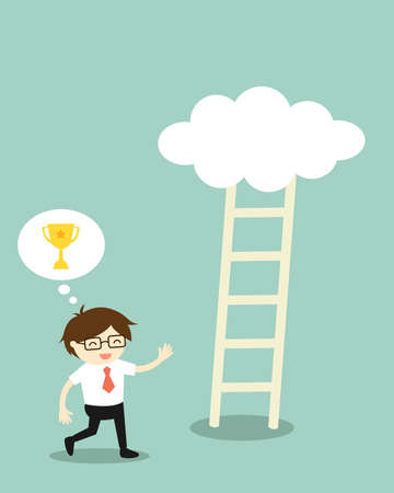 Business concept, Businessman going to climb the ladder because he thinks it will have a golden winner cup on the cloud, but its nothing on that cloud. Vector illustration.