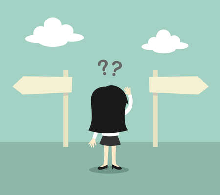 2 way: Business concept, Business woman confused about two direction. Vector illustration.