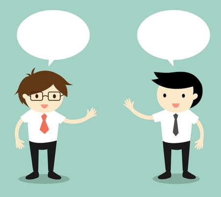 ビジネス コンセプトは、2 人のビジネスマンの話。ベクトルの図。