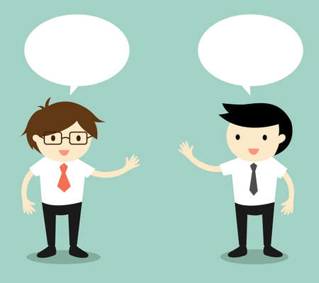 Concepto de negocio, dos hombres de negocios hablando. Ilustración del vector. Foto de archivo - 50644605