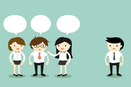 Business concept, two business women talking with businessman, but another business man standing alone. Vector illustration.