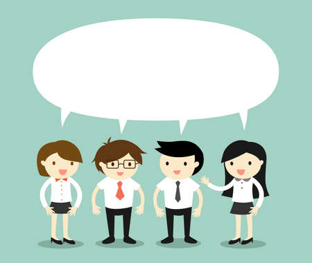 Business concept, businessmen and business women talking the same thing or same ideaconcept. Vector illustration.