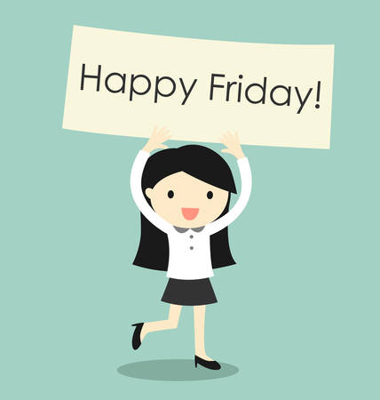 Business concept, business woman feeling happy and holding 'Happy Friday' banner. Vector illustration.
