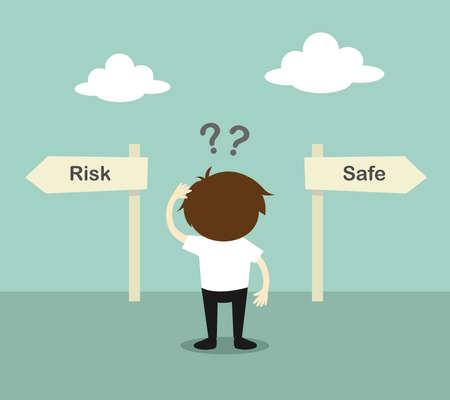 Concetto di affari, uomo d'affari confuso circa due direzioni, tra rischio o sicuro. Illustrazione vettoriale.