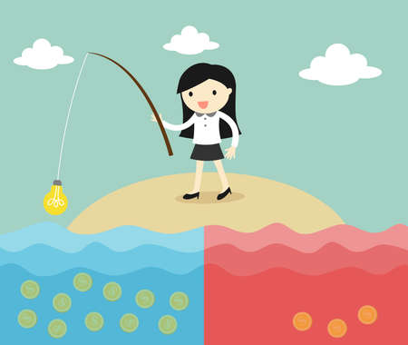 Business concept, business woman fishing coins by using idea. Vector illustration.
