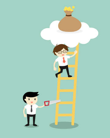 stairway to heaven: Business concept, Businessman is climbing the ladder for get a bag of money but another business man sawing a ladder. Vector illustration. Illustration