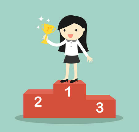 competition success: Business concept, business woman standing on the winning podium and holding trophy. Vector illustration.