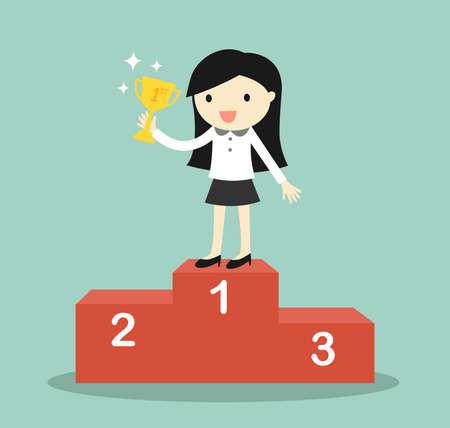 Concepto de negocio, mujer de negocios de pie en el trofeo de ganador podio y la celebración. Ilustración del vector.