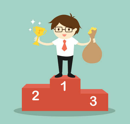 Business concept, businessman standing on the winning podium, he holding trophy and a bag of money. Vector illustration. Çizim