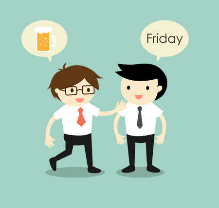 Business concept, businessmen planning to hangout together after they finish work on Friday. Vector illustration.