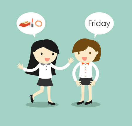 fun at work: Business concept, business women planning to go to shopping after they finish work on Friday. Vector illustration. Illustration