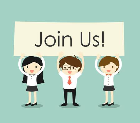 trabajo: Concepto de negocio, hombre de negocios y de negocios la celebraci�n de las mujeres 'Join Us! cartel con fondo verde. Ilustraci�n del vector.