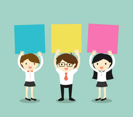 Business concept, Businessman and business women holding colorful sticky notes with green background. Vector illustration. Illustration